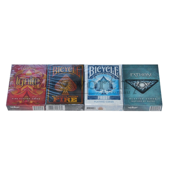 Playing Card Gift Collectors Set Ignite Fire Frost Fathom 4 Decks