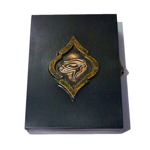 Playing Cards Rare Black Egypt Wood Box Holds 2-Decks Empty Artistic Hand Crafted in Greece