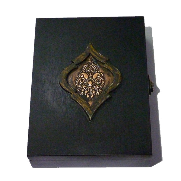 Playing Cards Rare Black Emblem Wood Box Holds 2-Decks Empty Artistic Hand Crafted in Greece