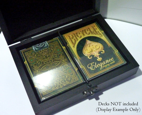 Playing Cards Rare Black Heart Wood Box Holds 2-Decks Empty Artistic Hand Crafted in Greece
