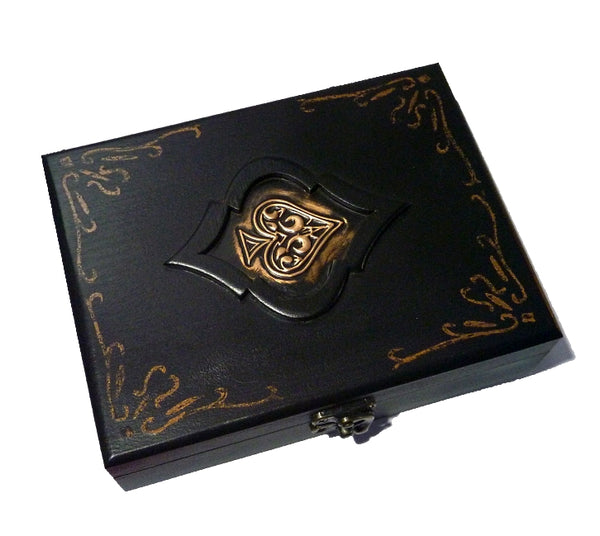 Playing Cards Rare Black Spade Wood Box Holds 2-Decks Empty Artistic Hand Crafted in Greece