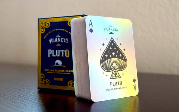 The Planets Pluto Mini Playing Cards All Holographic Foil in Acrylic Case