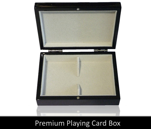 Playing Cards Gift Box Empty Wooden Gloss Black Suede Leather