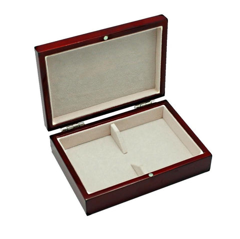 Buyworthy:Playing Cards Boxset Wood Gloss Mahogany Deep Red, Suede Leather Holds 2 Decks Gift
