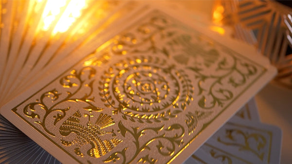 White Regalia Playing Cards Gold Foil Luxury 2nd Edition by Shin Lim