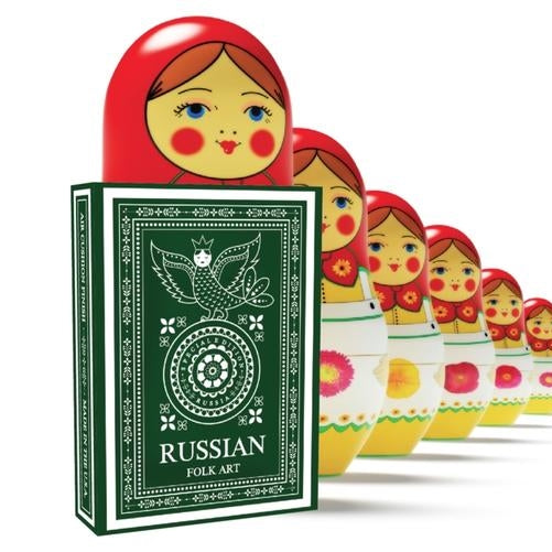 Russian Folk Art Playing Cards Green Special Edition designed in Russia