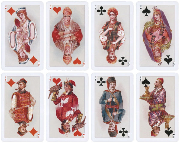 Russian National Playing Cards Artwork from 1900s by Nikolay Karazin