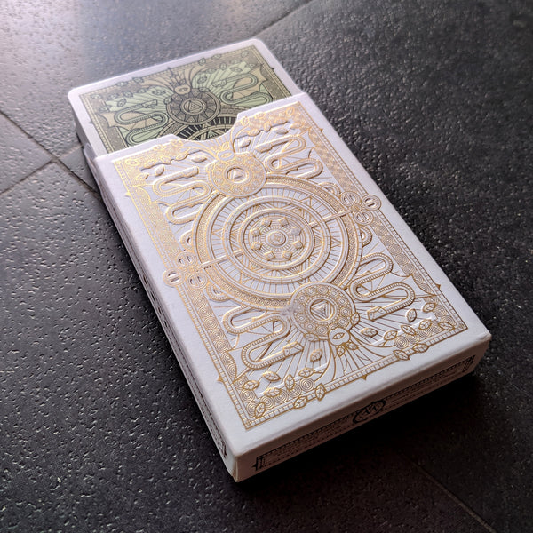 SINS Mentis Playing Cards Gold Green Embossed Tuck Case