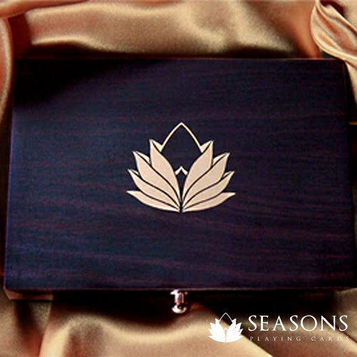 Seasons Playing Cards Wooden Box Ebony Edition Rare Luxury Holds 2
