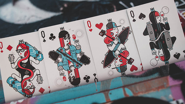 Skateboard V2 Playing Cards Marked Deck by Riffle Shuffle