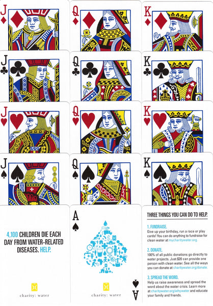 Charity Water Playing Cards Poker Deck Blue Edition Theory 11