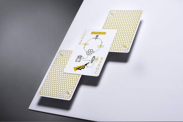 Super Bees Playing Cards White & Gold Edition deck by Ellusionist