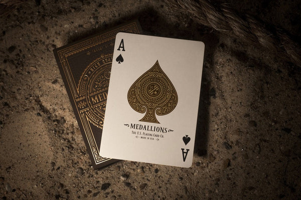 Medallions Playing Cards Black Gold Embossed Poker Deck