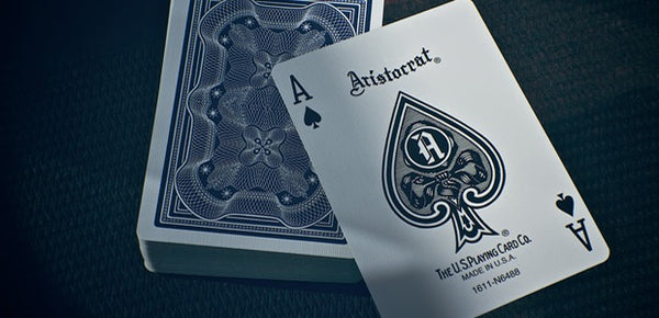 Aristocrat Playing Cards Red & Blue Black Gloss Wooden Box