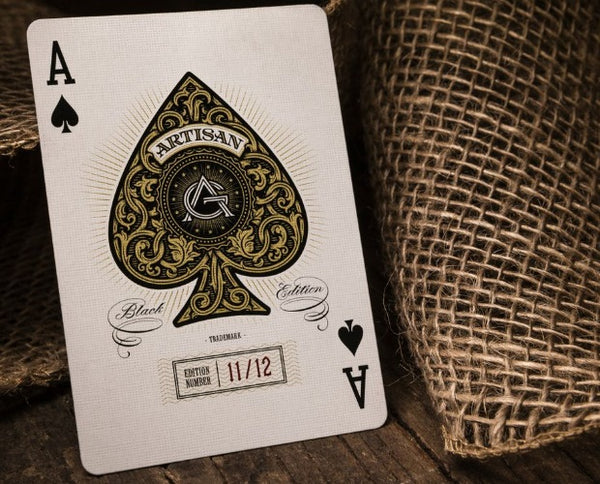 Artisan Playing Cards Black Gold Artisans by Theory 11 Luxury 3-Deck Set
