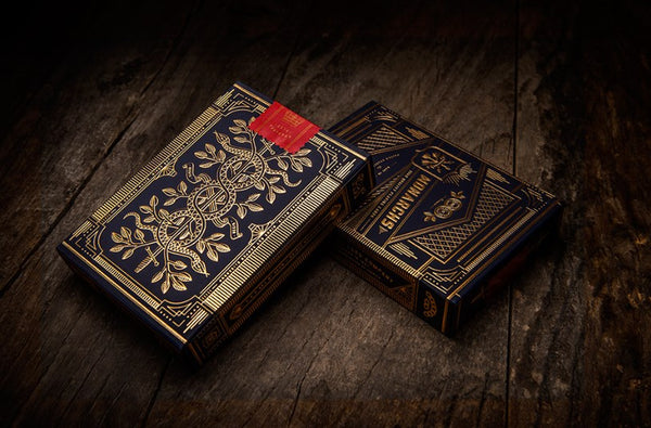 Monarchs Playing Cards Black Navy Blue Gold Embossed tuck case