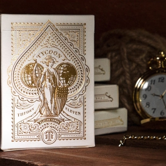 Tycoon Ivory Playing Cards White Luxury Gold Foil Embossed Box