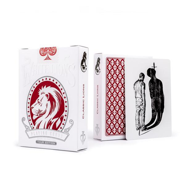 David Blaine White Lions Playing Cards Official Red 2018 Tour Reverse Edition