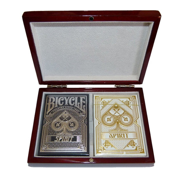 Buyworthy:Rare Spirit Bicycle Playing Cards Decks Blue White Wooden Box Collectors Set