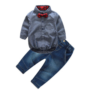 Newborn Boy Gentleman Romper and Denim Jean Set - Jelly Belly Babies LLC.