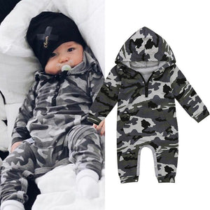 Infant Baby Boy Hooded Camouflage Romper Newborn Baby Camo Long Sleeve Romper New Warm Autumn Jumpsuit Outfit Boys Clothing - Jelly Belly Babies LLC.