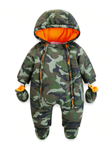 Newborn Baby Rompers Overalls Outdoors Winter Thick warm Kid Baby Girls Boys Infant Clothing Camo Flower Hooded Jumpsuit Kids Outwear - Jelly Belly Babies LLC.