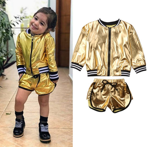 Children's Gold Shorts and Jacket - Jelly Belly Babies LLC.