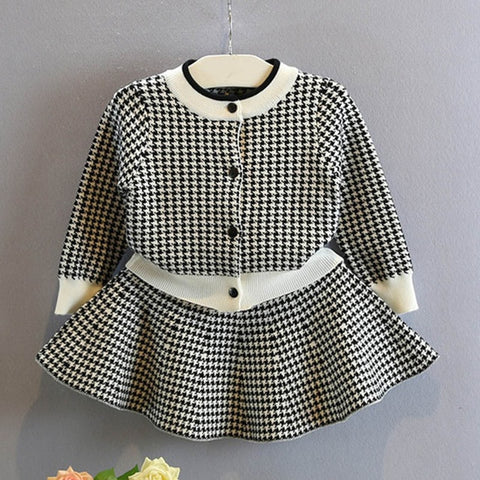 Girl's Jacket and Skirt Checkered Crystal 2 Piece Set - Jelly Belly Babies LLC.
