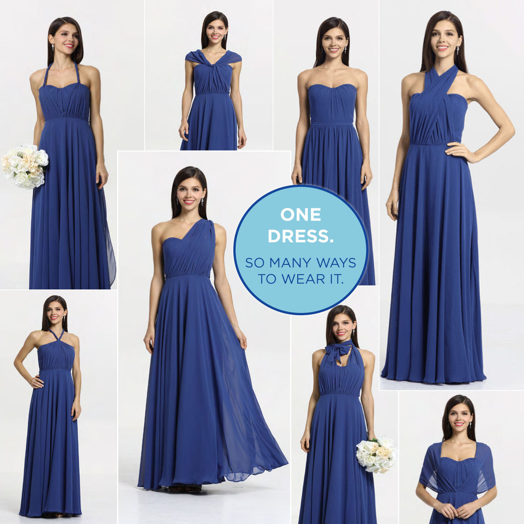 ideas for wearing your convertible bridesmaid gown, Amy.  Shon in Royal blue