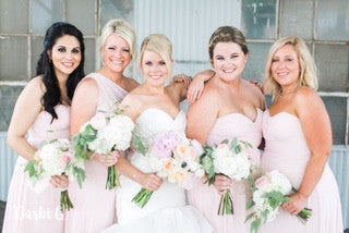 Allison and Blaine Bridesmaids in rose quartz