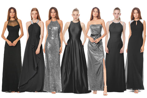 Bridesmaid Gowns in Black and Chrome for David Tutera's wedding