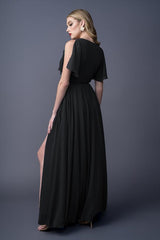 Karla bridesmaids gown in Black . Back view.