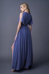 Karla bridesmaids gown in Cobalt. Back view.