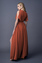 Karla bridesmaids gown in Burnt Orange. Back view.