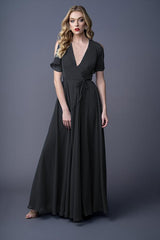 Karla bridesmaid gown in Black. Front view.