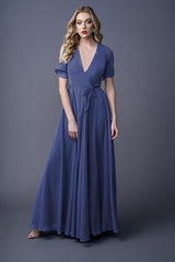 Karla bridesmaid gown in Cobalt. Front view.