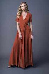 Karla bridesmaid gown in Burnt Orange. Front view.