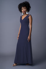 Tamara bridesmaid gown in Navy. Front view.