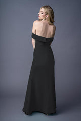 Ann bridesmaids gown in Black. Back view.