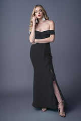 Ann bridesmaid gown in Black. Front view.
