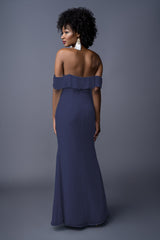 Emmy bridesmaids gown in Navy. Back view.