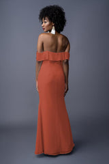 Emmy bridesmaids gown in Burnt Orange. Back view.