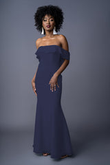 Emmy bridesmaid gown in Navy. Front view.