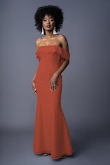 Emmy bridesmaid gown in Burnt Orange. Front view.