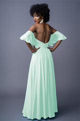 Sahanaa bridesmaids gown in Aqua Green. Back view.