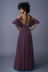 Sahanaa bridesmaids gown in Grape. Back view.
