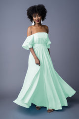 Sahanaa bridesmaid gown in Aqua Green. Front view.