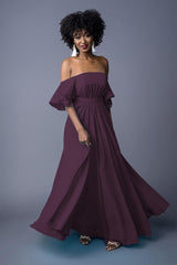 Sahanaa bridesmaid gown in Grape. Front view.