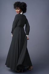 Faith bridesmaids gown in Black. Back view.