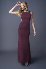 Sandra bridesmaid gown in Merlot. Front view.